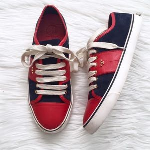 Tory Burch Churchill Red & Navy Lace Up Sneakers